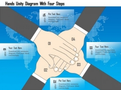 Business Diagram Hands Unity Diagram With Four Steps Presentation Template