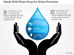 Business Diagram Hands With Water Drop For Water Protection Presentation Template