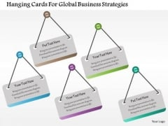 Business Diagram Hanging Cards For Global Business Strategies Presentation Template