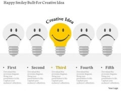 Business Diagram Happy Smiley Bulb For Creative Idea Presentation Template