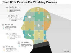 Business Diagram Head With Puzzles For Thinking Process Presentation Template