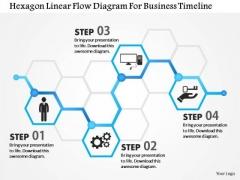 Business Diagram Hexagon Linear Flow Diagram For Business Timeline Presentation Template