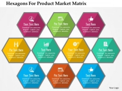 Business Diagram Hexagons For Product Market Matrix Presentation Template