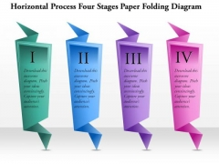 Business Diagram Horizontal Process Four Stages Paper Folding Diagram Presentation Template