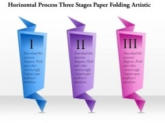 Business Diagram Horizontal Process Three Stages Paper Folding Artistic Presentation Template