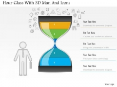 Business Diagram Hour Glass With 3d Man And Icons PowerPoint Slide