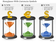 Business Diagram Hourglasses With Currencies Symbols Presentation Template
