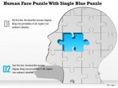 Business Diagram Human Face Puzzle With Single Blue Puzzle Presentation Template