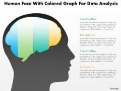 Business Diagram Human Face With Colored Graph For Data Analysis PowerPoint Slide