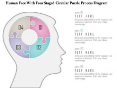 Business Diagram Human Face With Four Staged Circular Puzzle Process Diagram Presentation Template