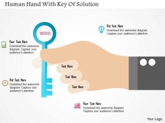 Business Diagram Human Hand With Key Of Solution PowerPoint Template