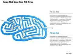 Business Diagram Human Mind Shape Maze With Arrow PowerPoint Template