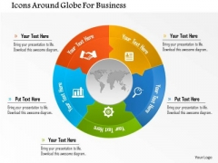Business Diagram Icons Around Globe For Business Presentation Template