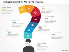 Business Diagram Icons On Question Mark For Queries Presentation Template