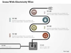 Business Diagram Icons With Electricity Wire Presentation Template