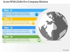 Business Diagram Icons With Globe For Company Mission Presentation Template