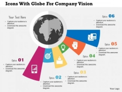 Business Diagram Icons With Globe For Company Vision Presentation Template