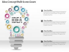 Business Diagram Idea Concept Bulb Icons Gears Presentation Template
