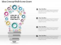 Business Diagram Idea Concept Bulb Icons Gears Presentation Template