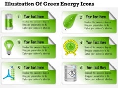 Business Diagram Illustration Of Green Energy Icons Presentation Slide Template