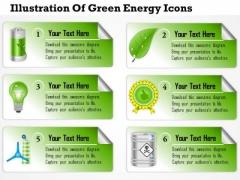 Business Diagram Illustration Of Green Energy Icons Presentation Slide Template