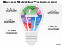 Business Diagram Illustration Of Light Bulb With Business Icons Presentation Template
