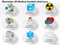 Business Diagram Illustration Of Medical Symbols And Icons Presentation Slide Template