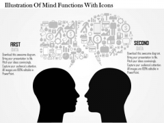 Business Diagram Illustration Of Mind Functions With Icons Presentation Slide Template