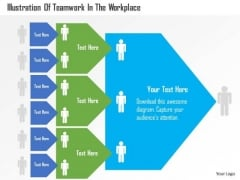Business Diagram Illustration Of Teamwork In The Workplace Presentation Template