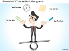 Business Diagram Illustration Of Time And Task Management Presentation Template