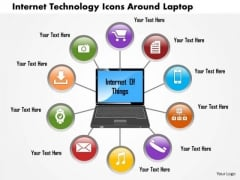 Business Diagram Internet Technology Icons Around Laptop Presentation Template