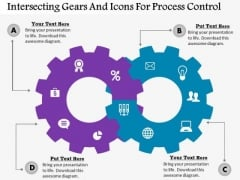 Business Diagram Intersecting Gears And Icons For Process Control Presentation Template