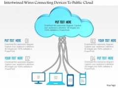 Business Diagram Intertwined Wires Connecting Devices To Public Cloud Ppt Slide