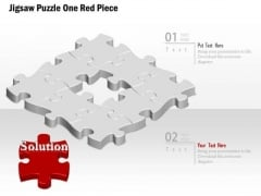Business Diagram Jigsaw Puzzle One Red Piece Presentation Template