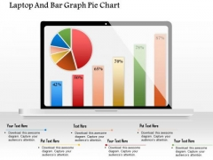 Business Diagram Laptop And Bar Graph Pie Chart Presentation Template