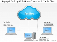 Business Diagram Laptop And Desktop With Mouse Connected To Public Cloud Ppt Slide
