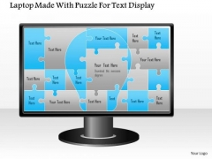 Business Diagram Laptop Made With Puzzle For Text Display Presentation Template