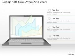 Business Diagram Laptop With Data Driven Area Chart PowerPoint Slide