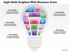 Business Diagram Light Bulb Graphics With Business Icons Presentation Template
