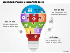 Business Diagram Light Bulb Puzzle Design With Icons Presentation Template