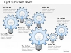 Business Diagram Light Bulbs With Gears Presentation Template
