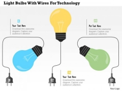 Business Diagram Light Bulbs With Wires For Technology Presentation Template