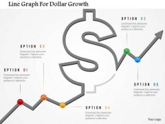 Business Diagram Line Graph For Dollar Growth Presentation Template