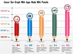 Business Diagram Linear Bar Graph With Apps Made With Pencils Presentation Template