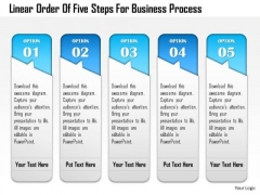 Business Diagram Linear Order Of Five Steps For Business Process Presentation Template