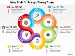 Business Diagram Linked Circle For Strategic Planning Process Presentation Template