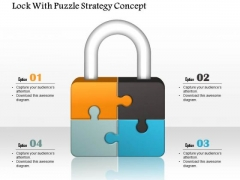 Business Diagram Lock With Puzzle Strategy Concept Presentation Template