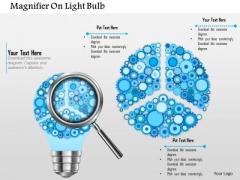 Business Diagram Magnifier On Light Bulb Presentation Template