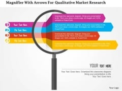 Business Diagram Magnifier With Arrows For Qualitative Market Research Presentation Template