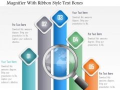 Business Diagram Magnifier With Ribbon Style Text Boxes Presentation Template